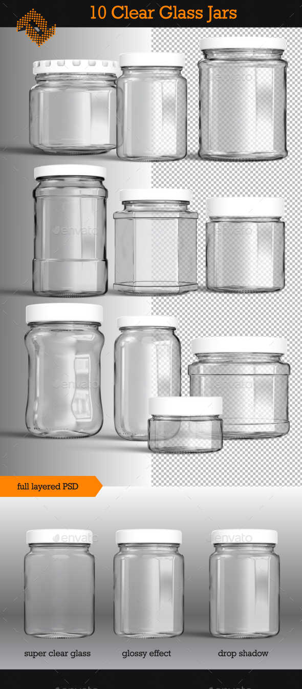 GraphicRiver 10 Isolated Clear Glass Jars 9955305