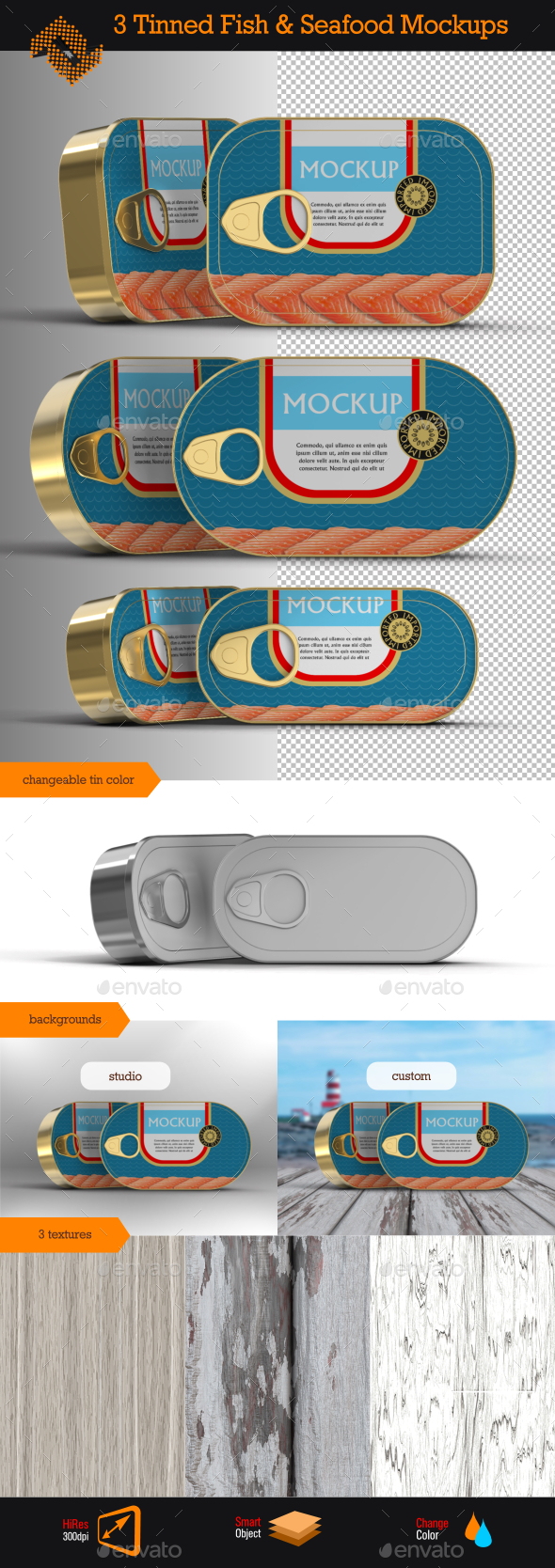 GraphicRiver Tinned Fish & Seafood Mockup 9955882