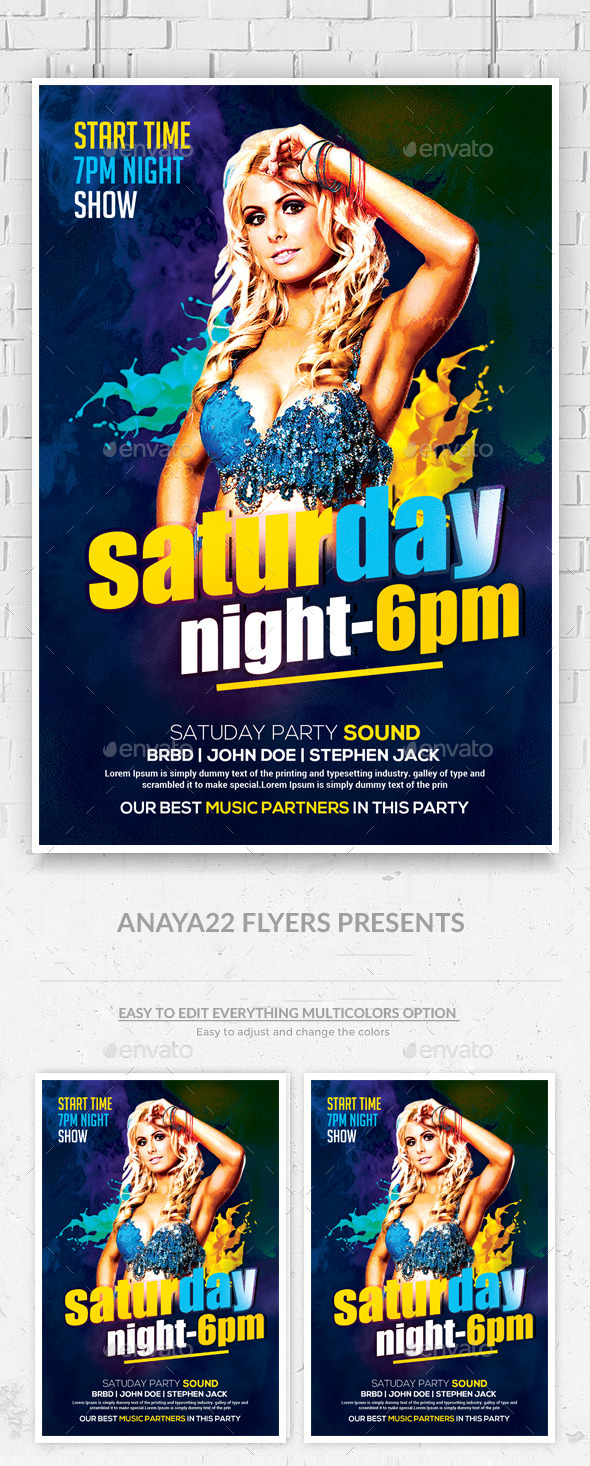 GraphicRiver Guest DJ Saturday Night Flyer 9955894