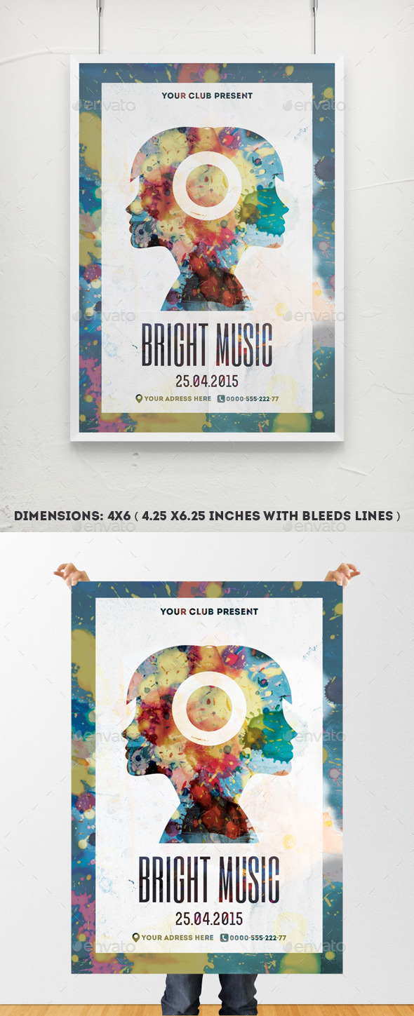GraphicRiver Bright Music Poster Template 9956228