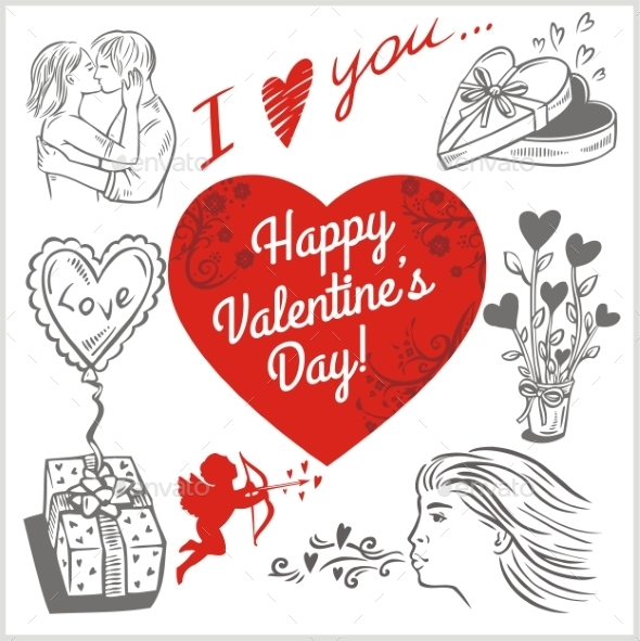GraphicRiver Valentines Day Vector Set 9956230