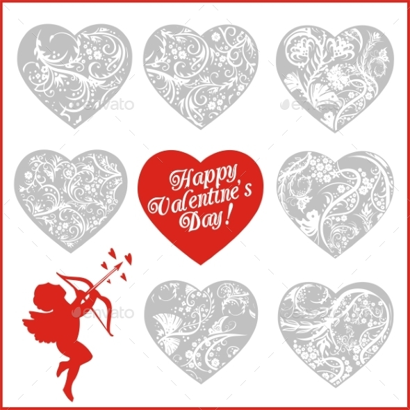 GraphicRiver Red Hearts Valentines Day 9956233