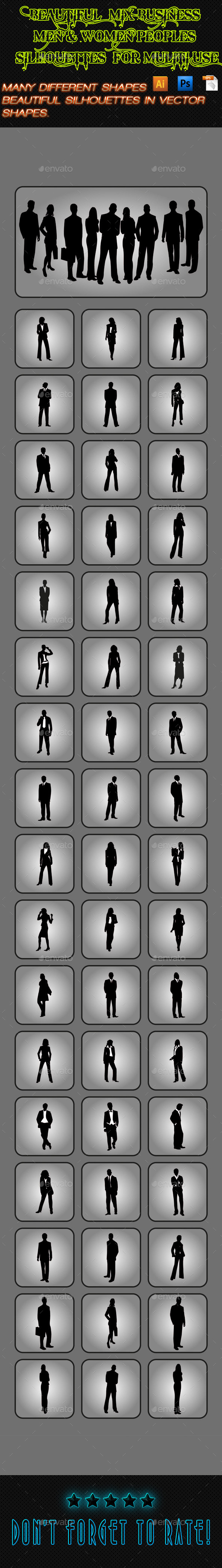 Business Men & Women Silhouettes 02
