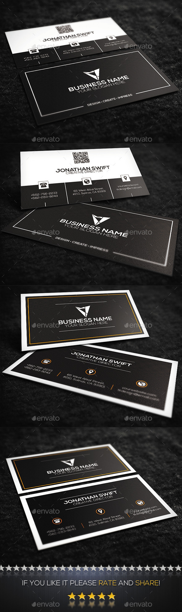 GraphicRiver 2 in 1 Corporate Business Card Bundle No.03 9956254