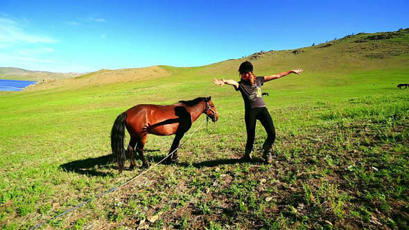 Female Tourist Next To Mongolian Horse