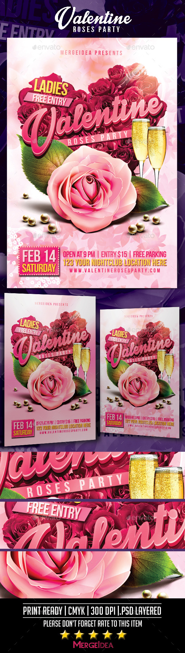 GraphicRiver Valentine Roses Party Flyer 9956673