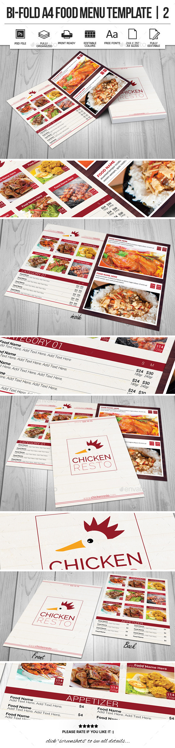 GraphicRiver Bi-Fold A4 Food Menu Template 2 9956858