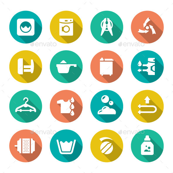 GraphicRiver Set Flat Icons of Laundry 9956993