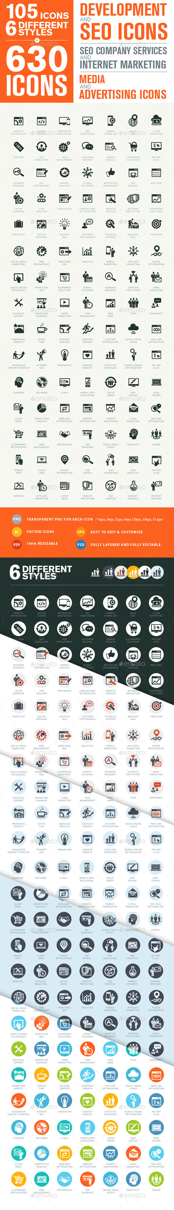 GraphicRiver Set of Modern SEO Services Icons 9957114