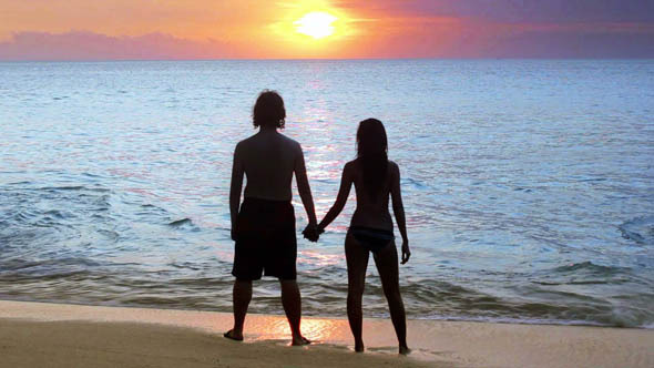 Romantic Couple At Beach During Sunset 2