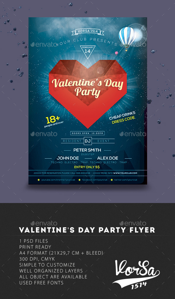GraphicRiver Valentines Day party flyer 9957146
