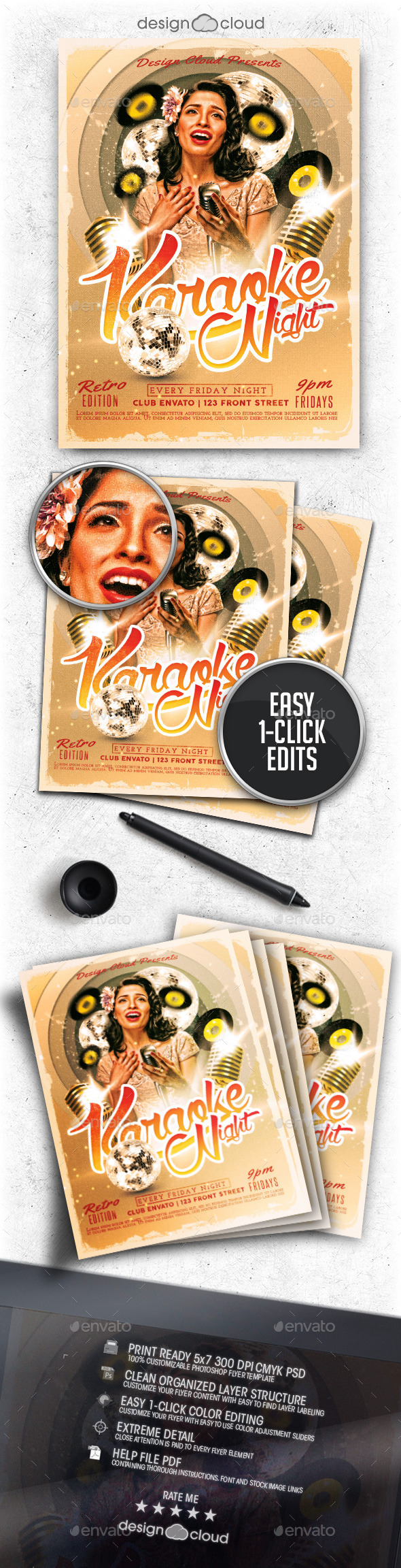 Retro Karaoke Night Flyer Template