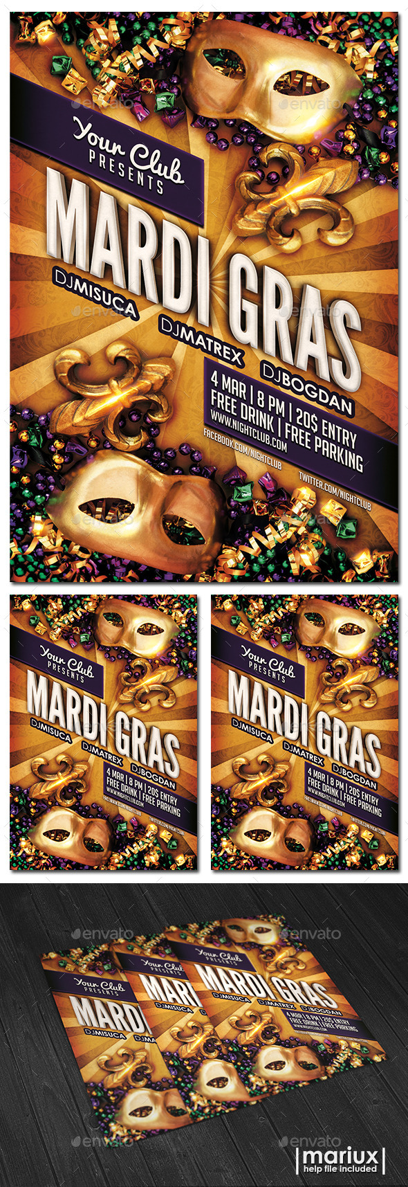 GraphicRiver Mardi Gras Party Flyer 9957452