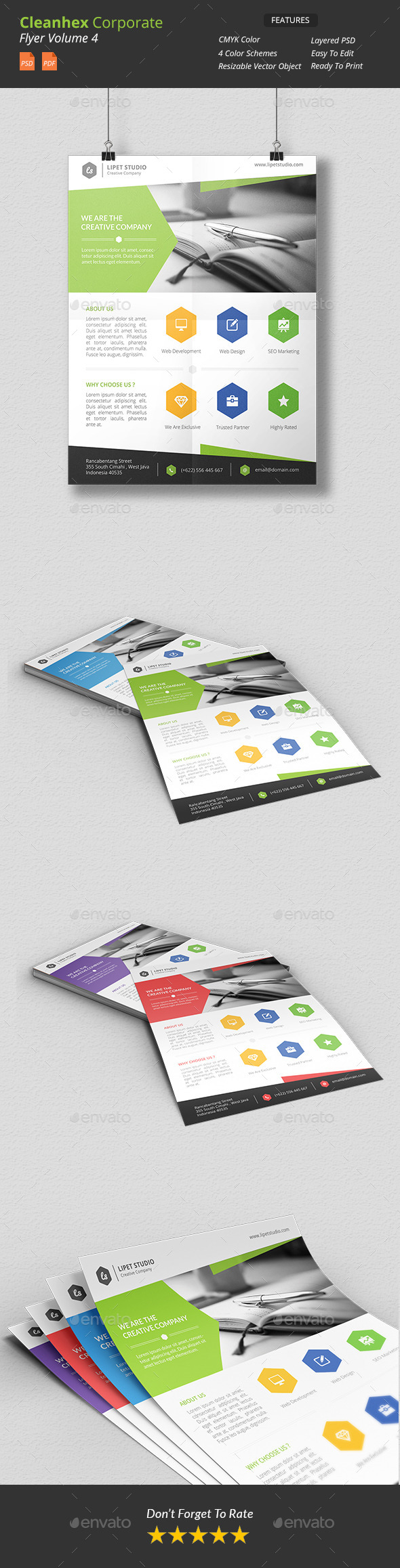 GraphicRiver Cleanhex Clean Corporate Flyer v4 9957495
