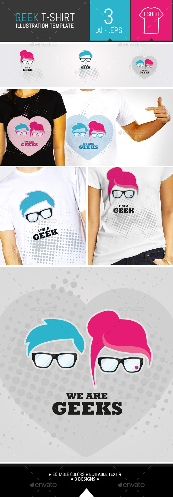 GraphicRiver Geek Vector Illustration T-shirt Template 9957504