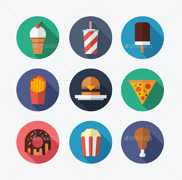 GraphicRiver Fast Food Flat Icons 9957512