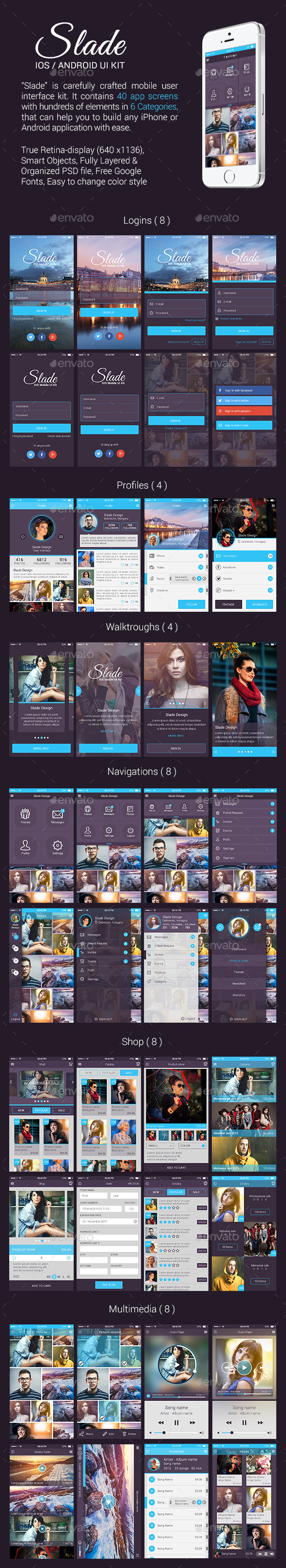 GraphicRiver Slade iOS Android UI Kit 9957548