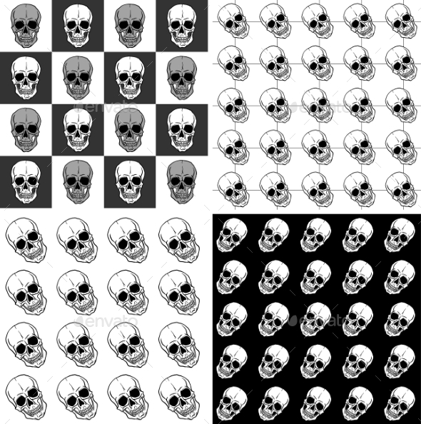GraphicRiver Patterns with Skulls 9957678
