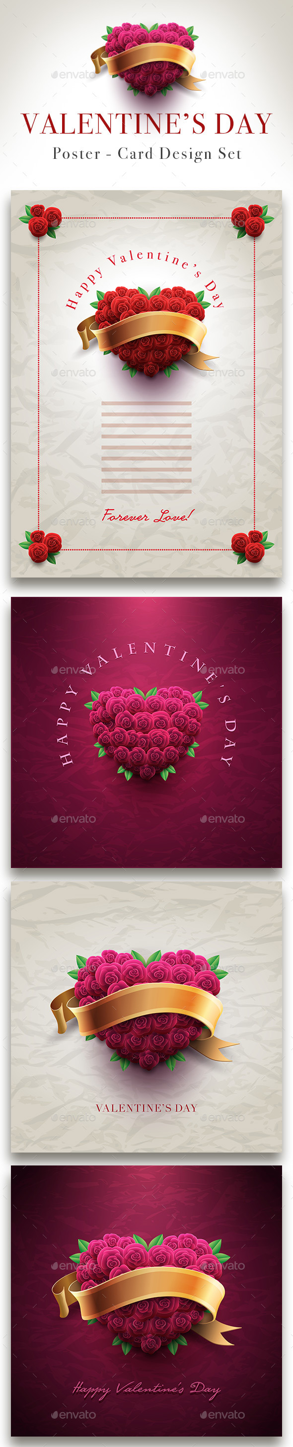 GraphicRiver Valentine s Day Rose Heart Card Set 9957929