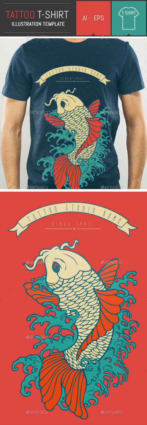 Carp Tattoo Vector Illustration T-Shirt Template