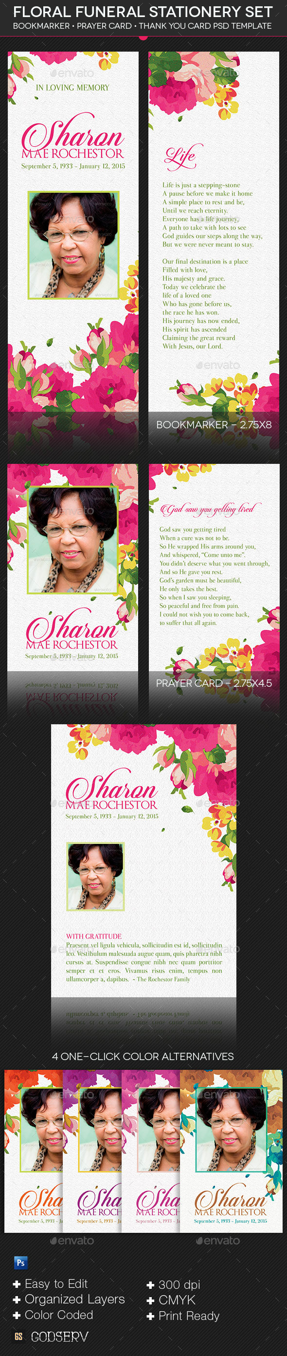 GraphicRiver Floral Funeral Stationery Template Set 9958241