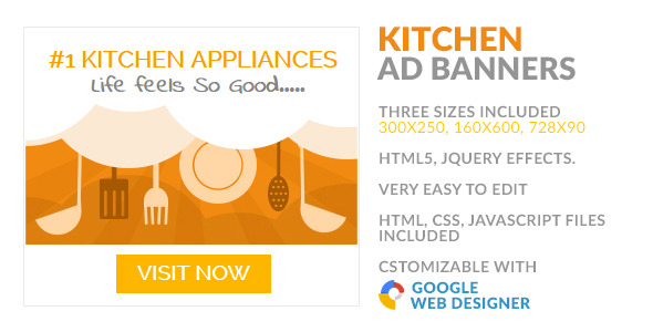 CodeCanyon Kitchen Appliances Store HTML5 GWD AD Banner 9958748