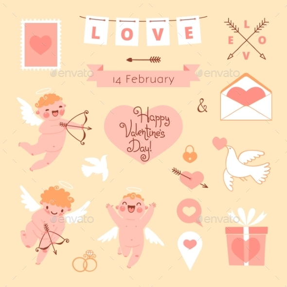 Valentine s Day Set of Elements for Design