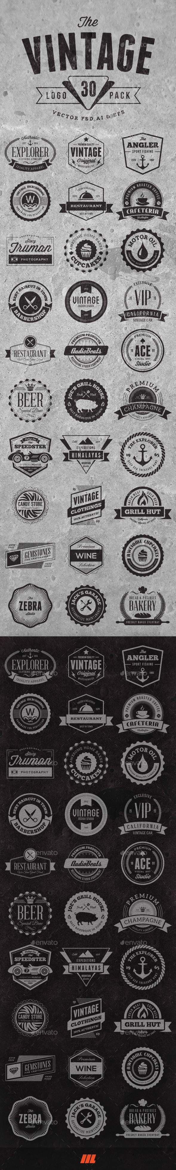 GraphicRiver 30 Vintage Logo Badges 9960062