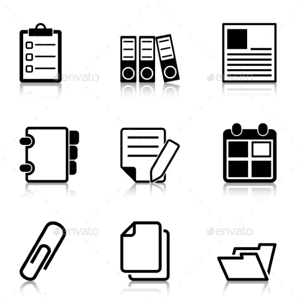 GraphicRiver Document Office Icons with Refection 9960228
