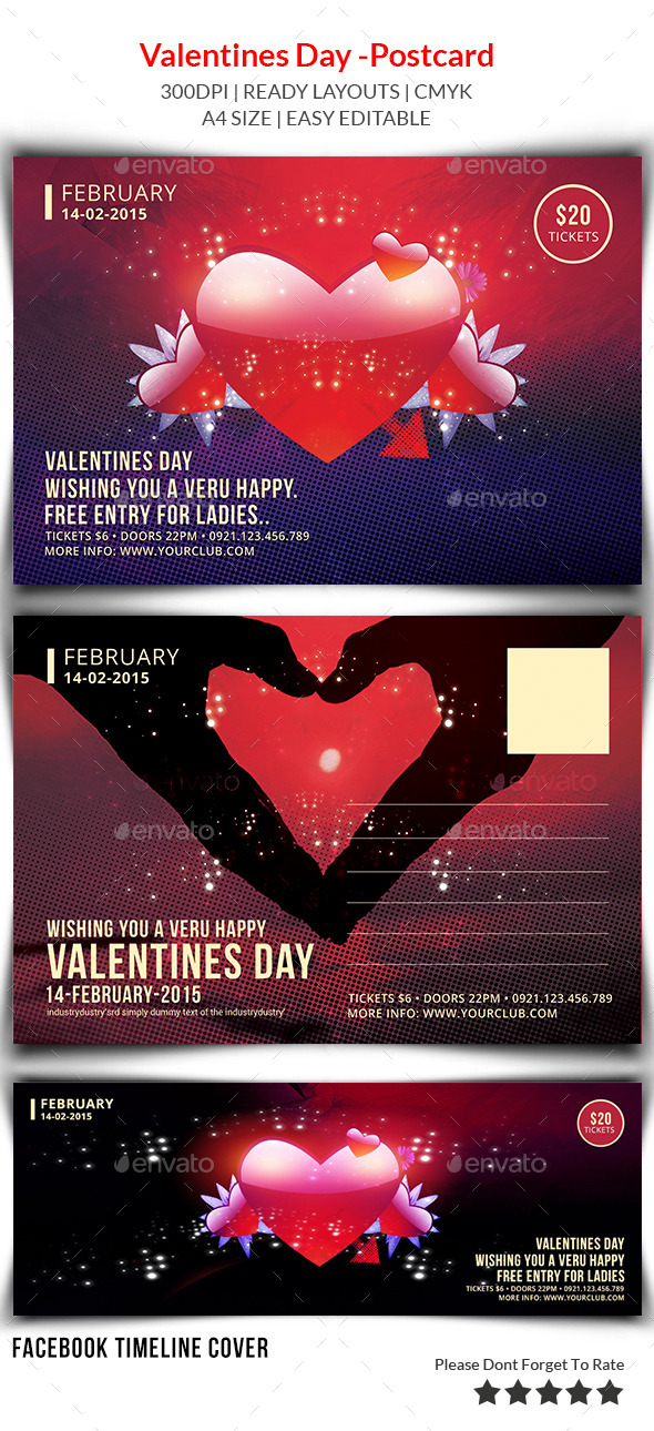 GraphicRiver Valentines Day Postcard Print Templates 9960559