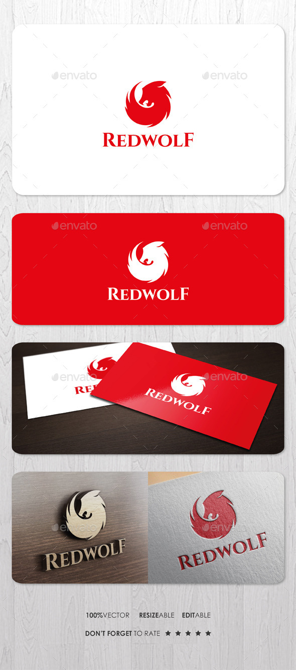 GraphicRiver Red Wolf Logo 9961384