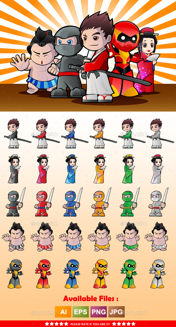 GraphicRiver Japanese Character Mascot 9961456