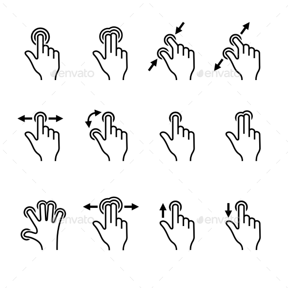GraphicRiver Gesture Icons Set for Mobile Touch Devices Vector 9961712