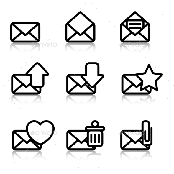 GraphicRiver Envelopes Icons with Reflection 9961721