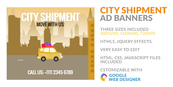 CodeCanyon City Shipment Transfer GWD HTML5 Ad Banner 9961880