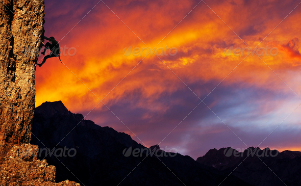 Stock Photo - PhotoDune Climber on sunet 1365283