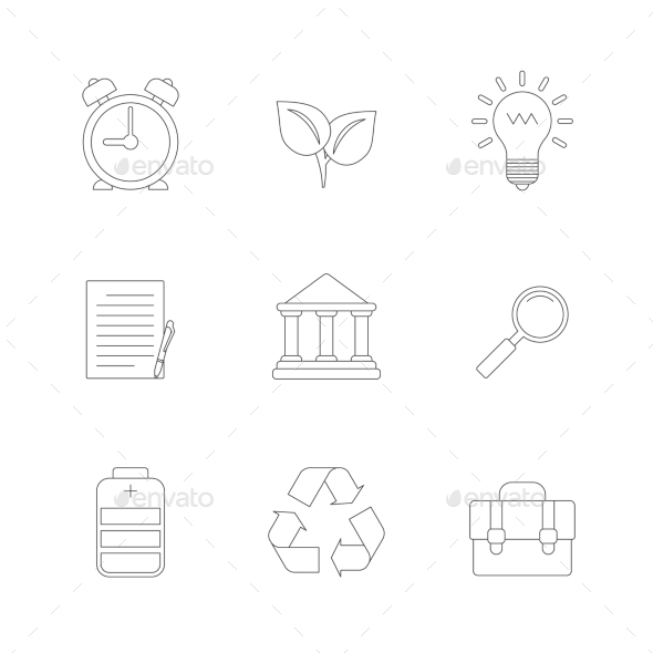 GraphicRiver Flat Line Icons Set 9962095