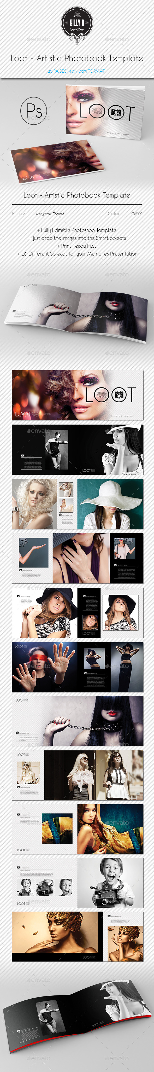 GraphicRiver Loot Artistic Photobook Template 9953812