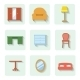 Colored Flat Furniture Icons