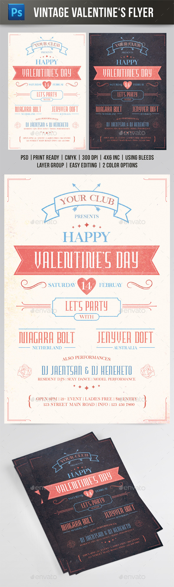 GraphicRiver Vintage Valentine s Day Flyer 9956260