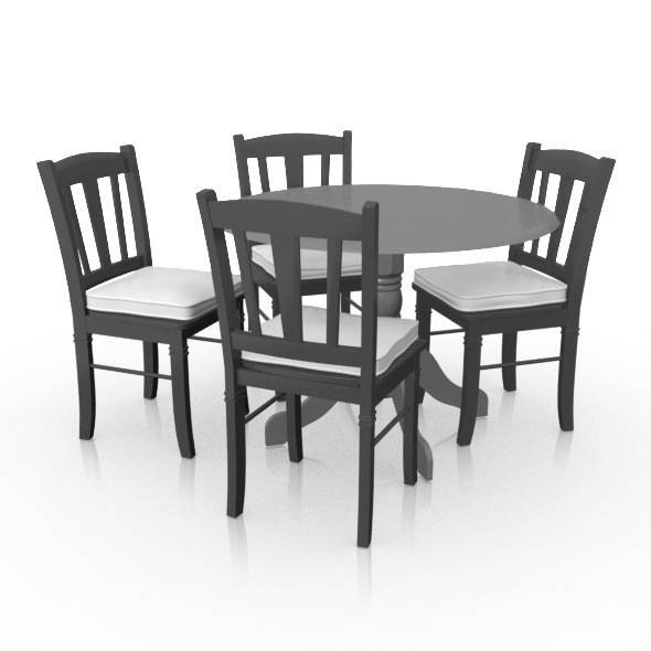 3DOcean Dining Set Leaf Table x4 Chairs 9963169