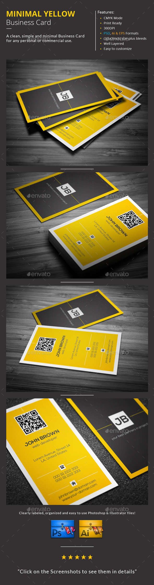 GraphicRiver Minimal Yellow Business Card 9963469