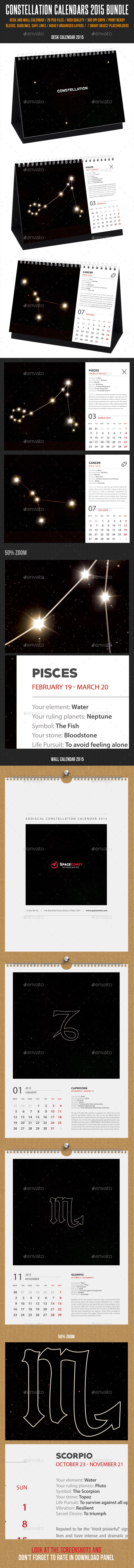 GraphicRiver Constellation Calendars 2015 Bundle 9963534