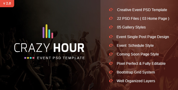 Crazy Hour Event Management PSD Template