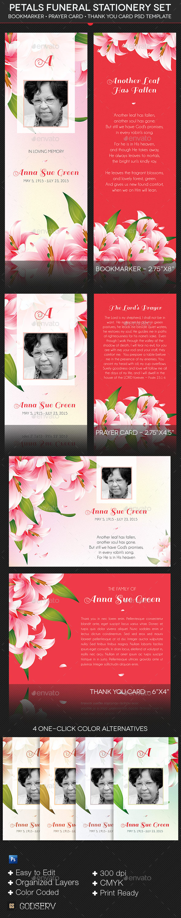 GraphicRiver Petals Funeral Stationery Template Set 9963732