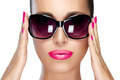 Beautiful Model in Black Fashion Sunglasses. Bright Makeup and M - PhotoDune Item for Sale