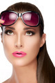 Beautiful Model in Red Violet Shades Looking up. Bright Makeup a - PhotoDune Item for Sale