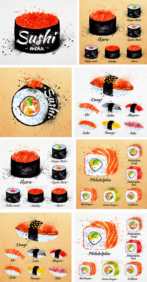 GraphicRiver Watercolor Sushi Menu 9965505