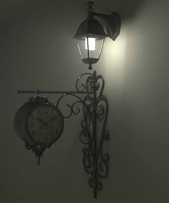 3DOcean Victorian Wall Lamp and Clock Modern Set 9965777