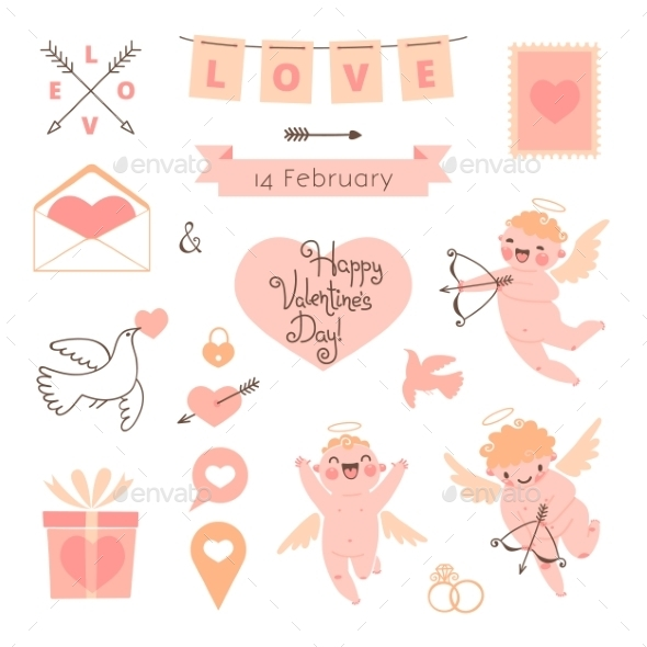 GraphicRiver Valentines Day set of elements for design 9965781